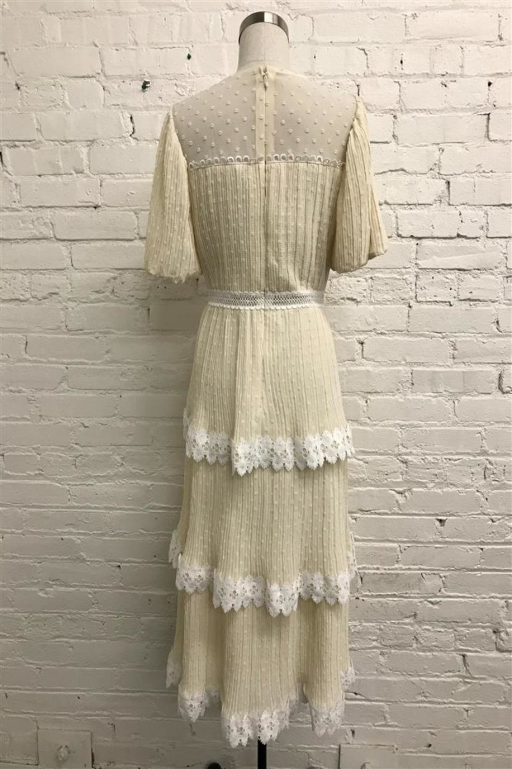 Just Me Pleated Tiered Dress - Front Full Image