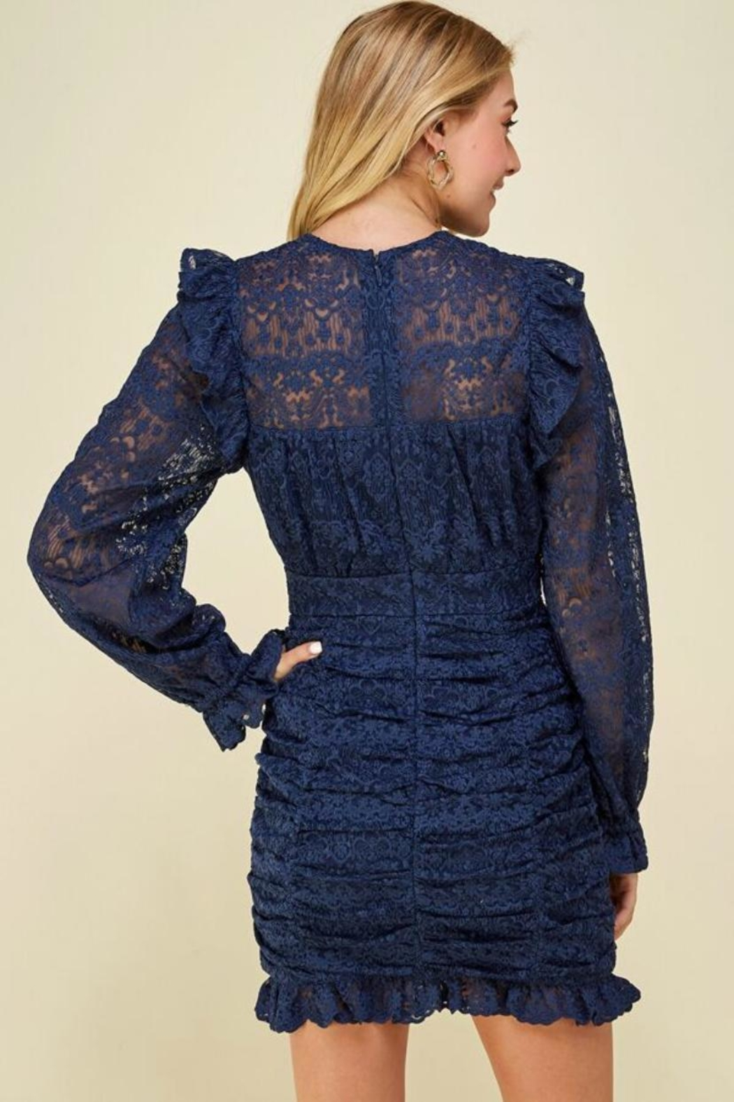 Just Me Puff-Sleeve Lace Dress - Front Full Image