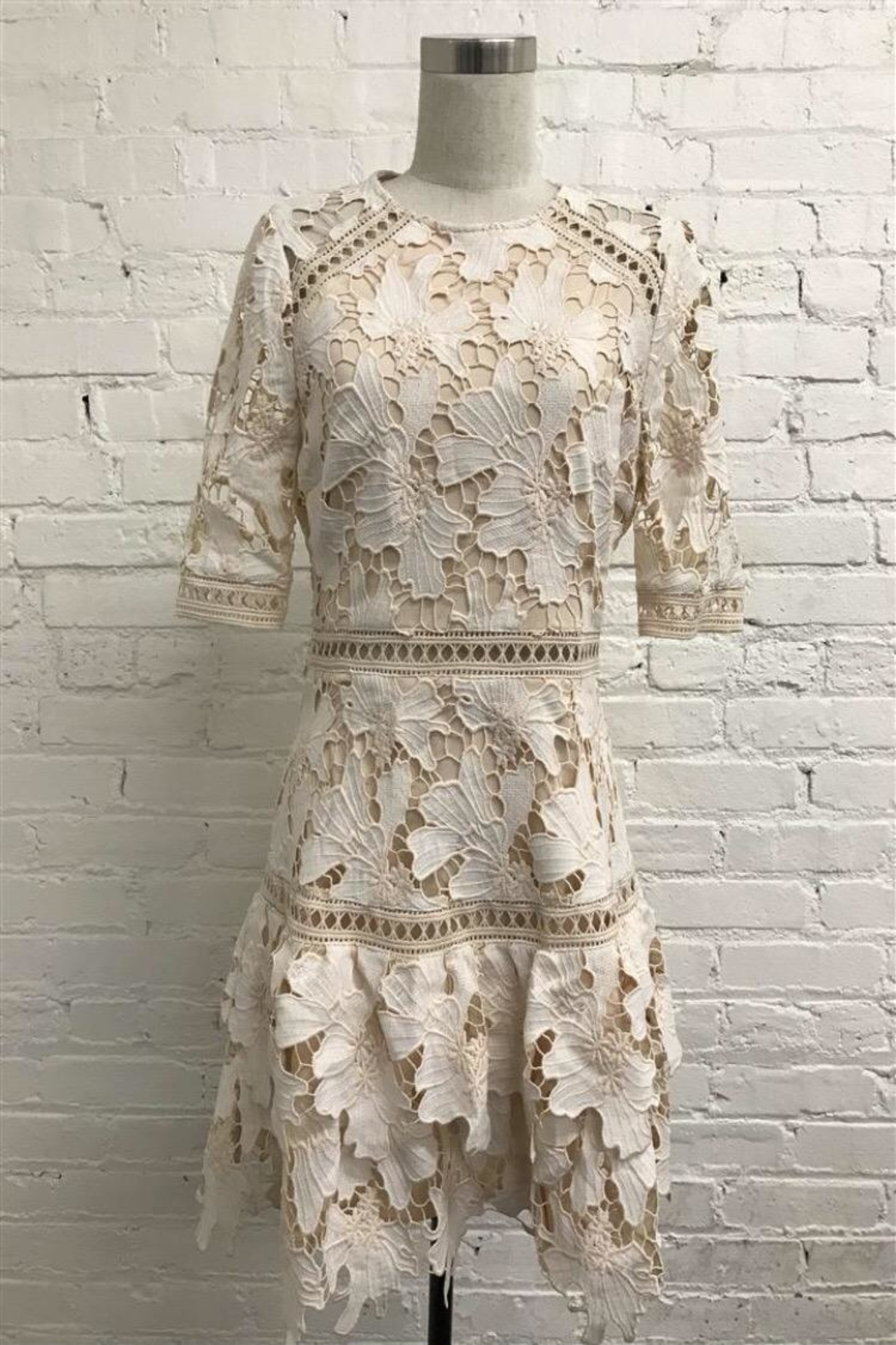 Just Me Tiered Crochet Dress - Main Image