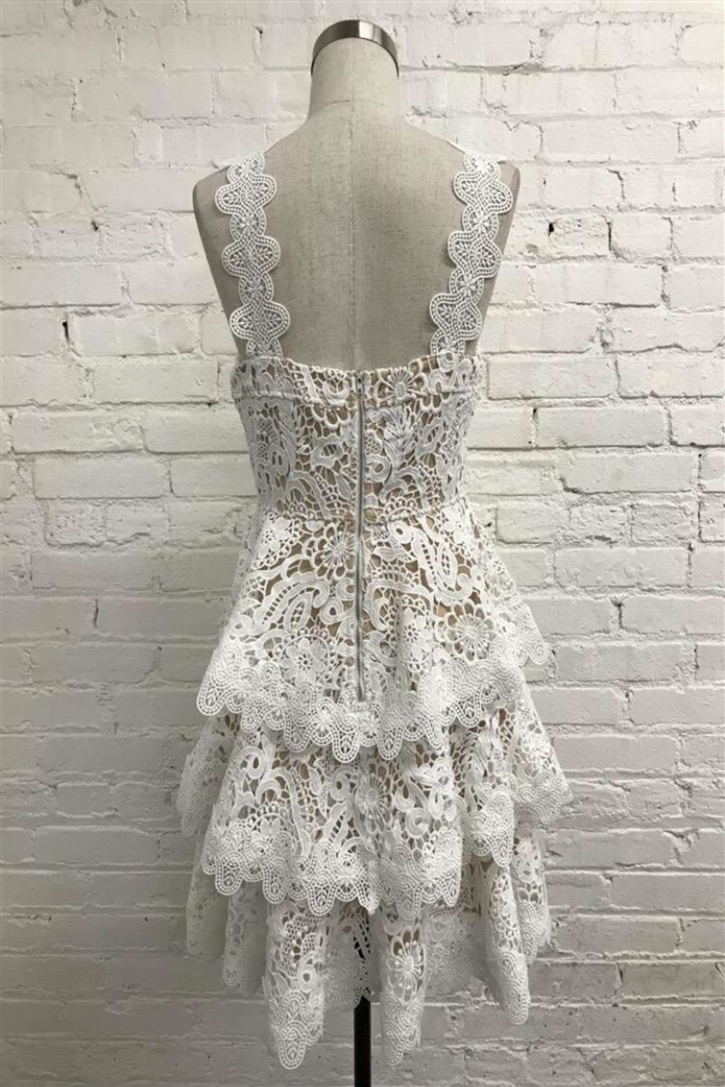 Just Me Tiered Lace Dress - Front Full Image