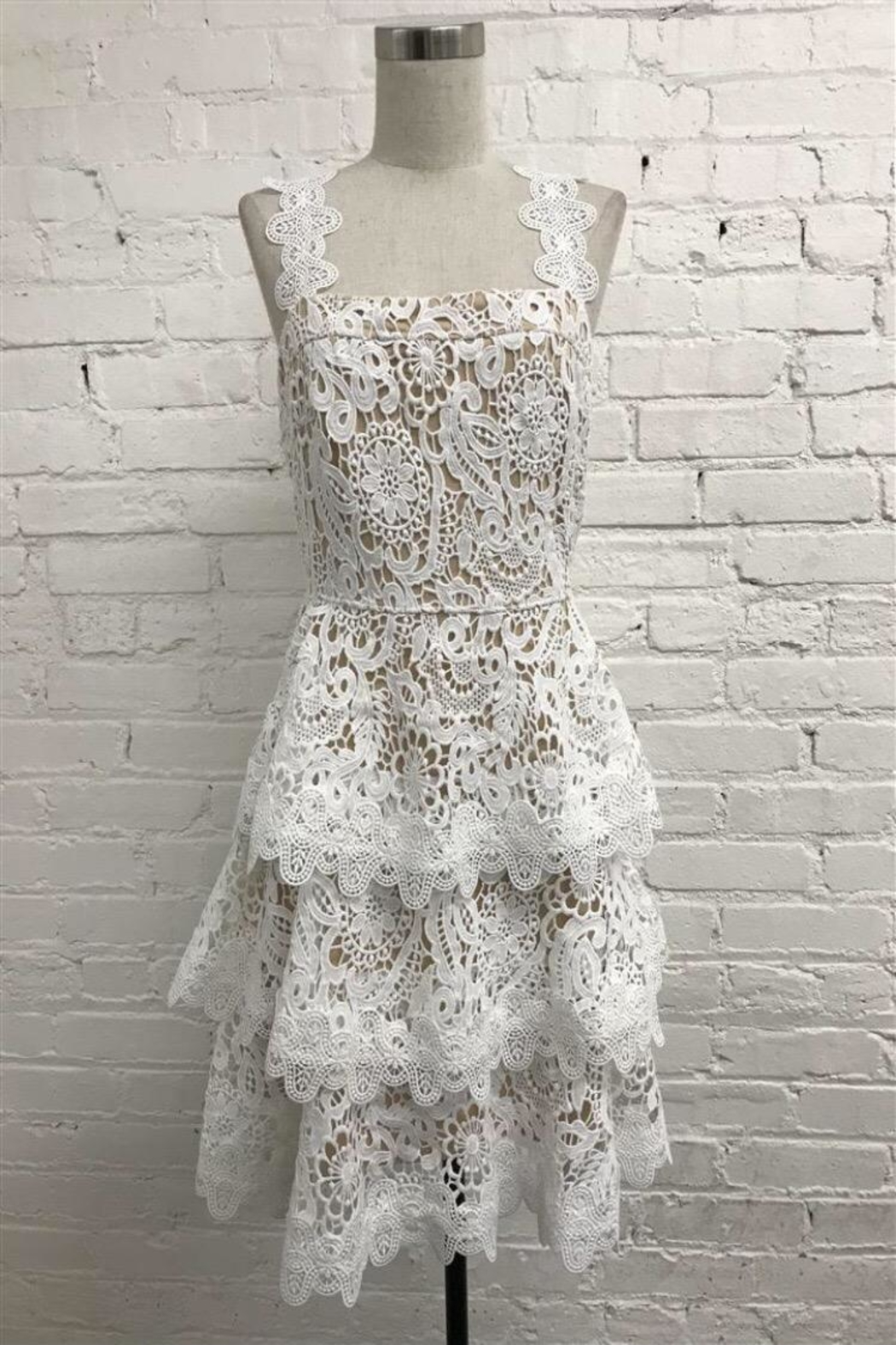 Just Me Tiered Lace Dress - Main Image