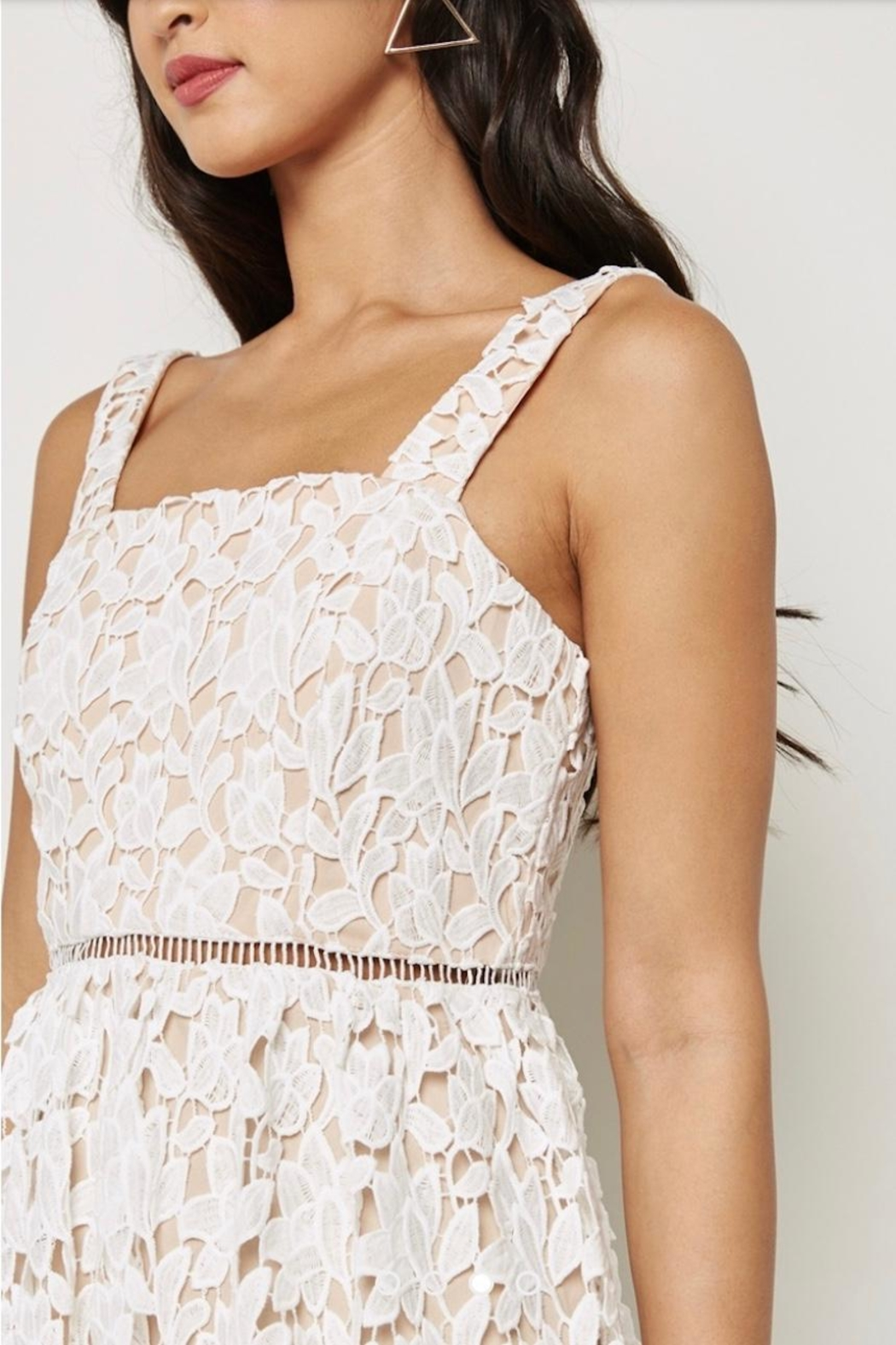 Just Me White Overlay Dress - Side Cropped Image