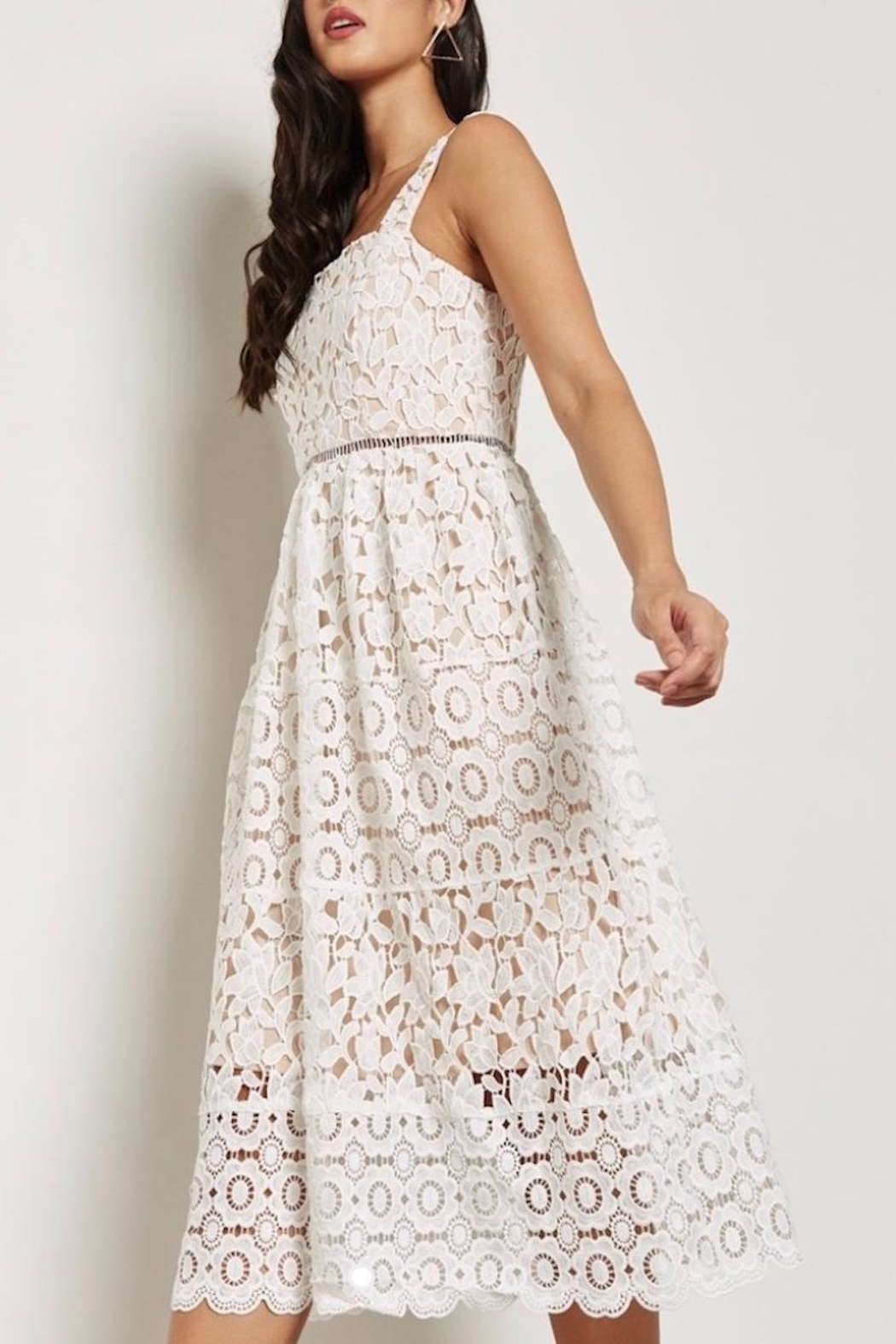 Just Me White Overlay Dress - Front Full Image