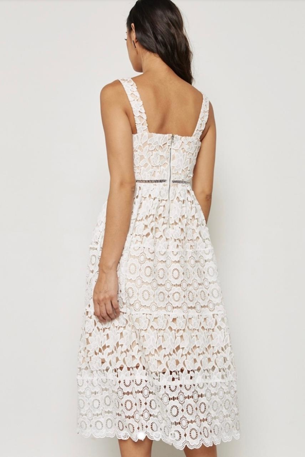 Just Me White Overlay Dress - Back Cropped Image