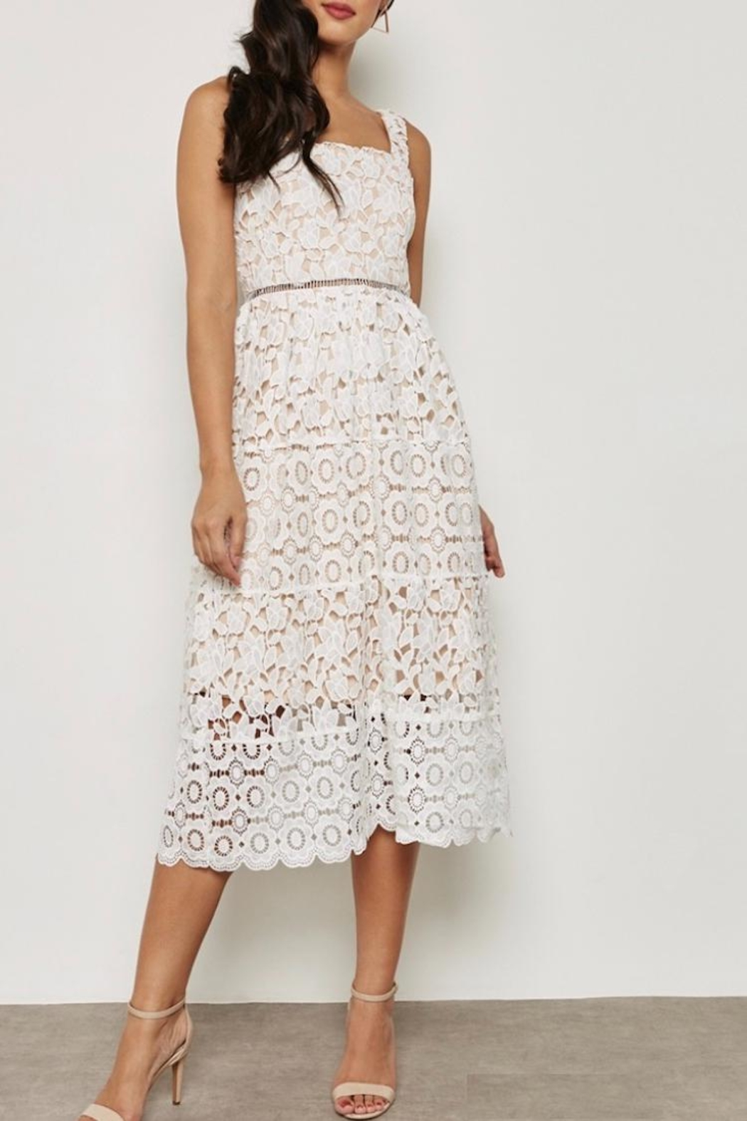 Just Me White Overlay Dress - Front Cropped Image