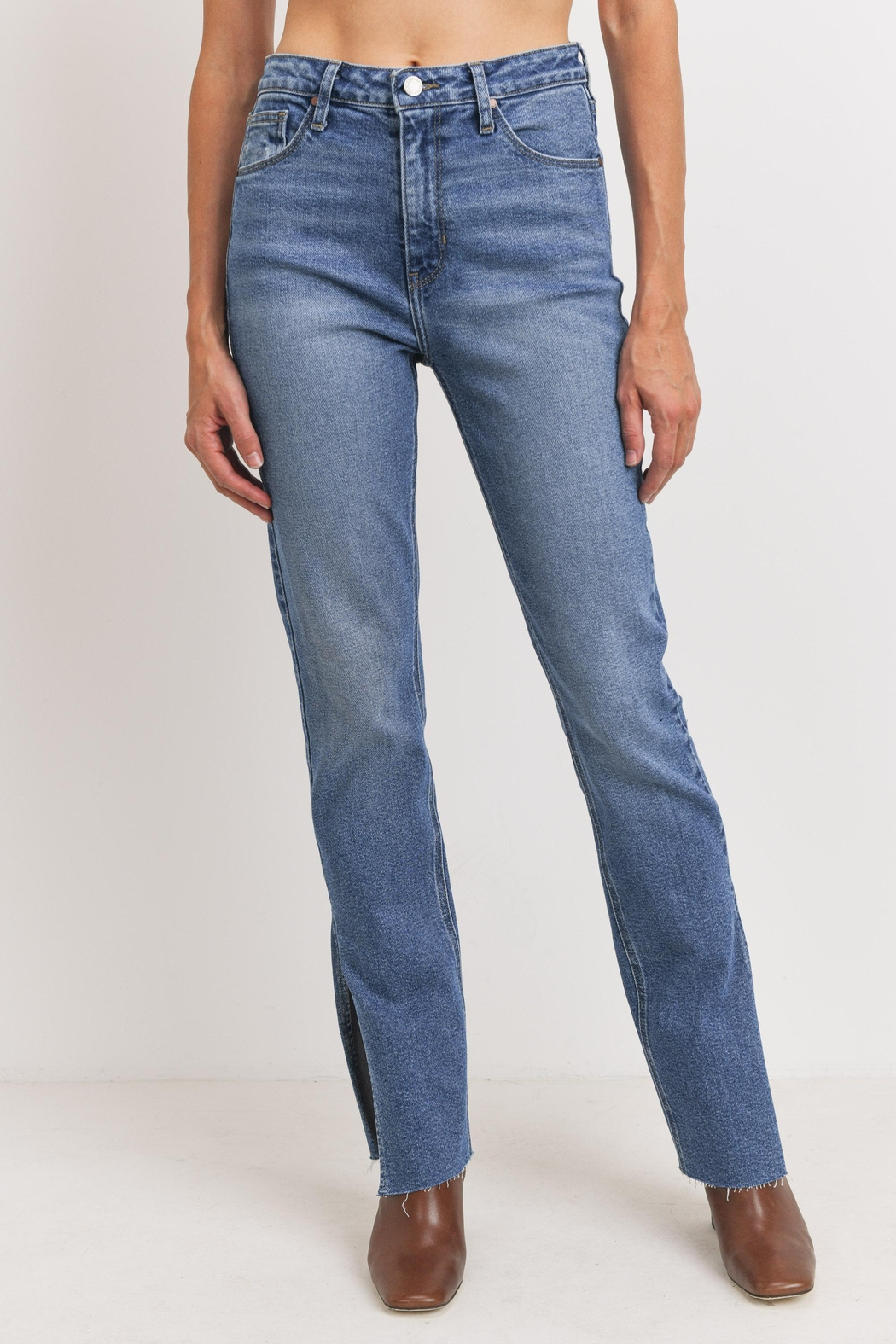 Just Panmaco Inc. Frayed Side Slit Jeans - Front Full Image