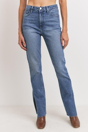 Just Panmaco Inc. Frayed Side Slit Jeans - Front full body