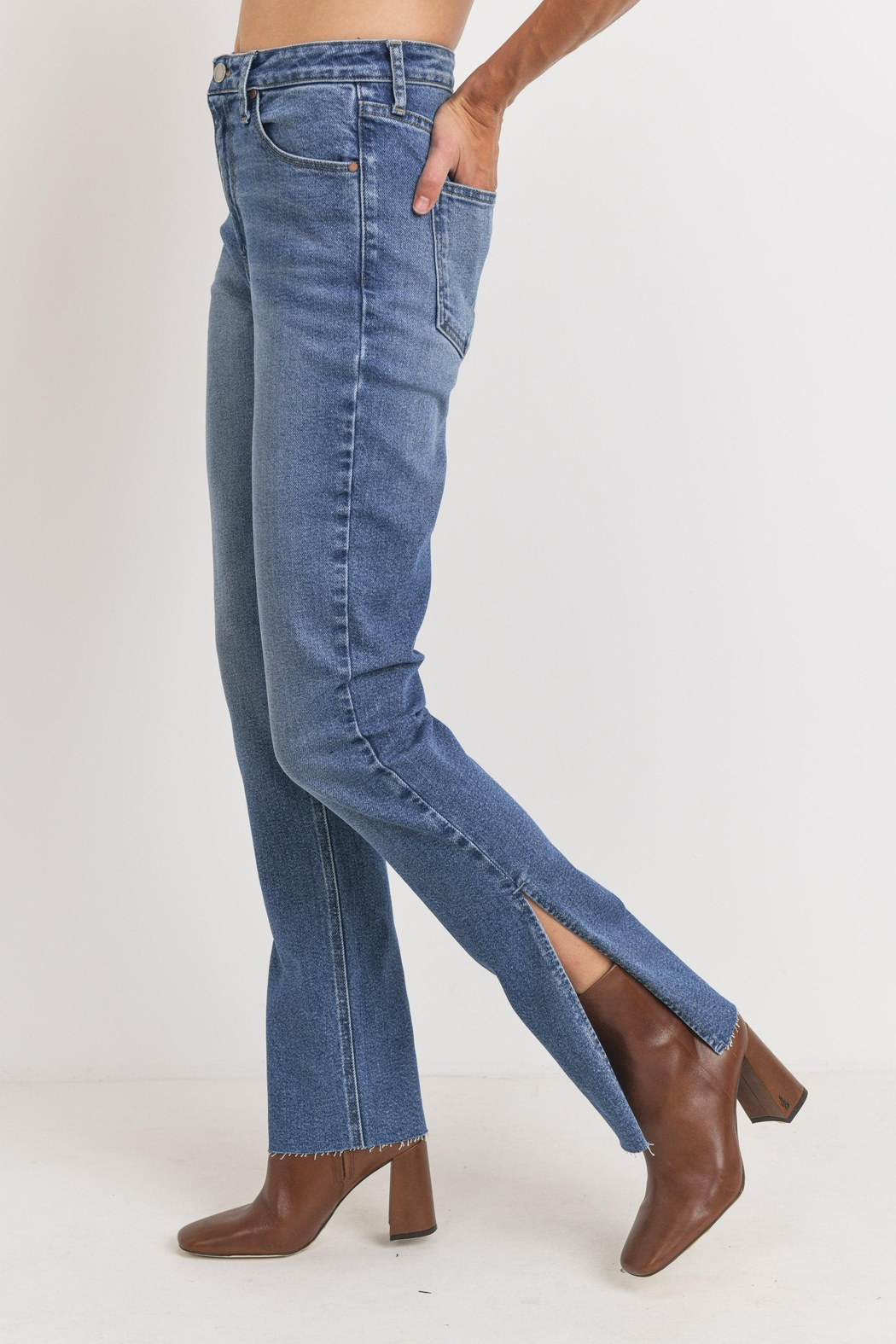 Just Panmaco Inc. Frayed Side Slit Jeans - Main Image