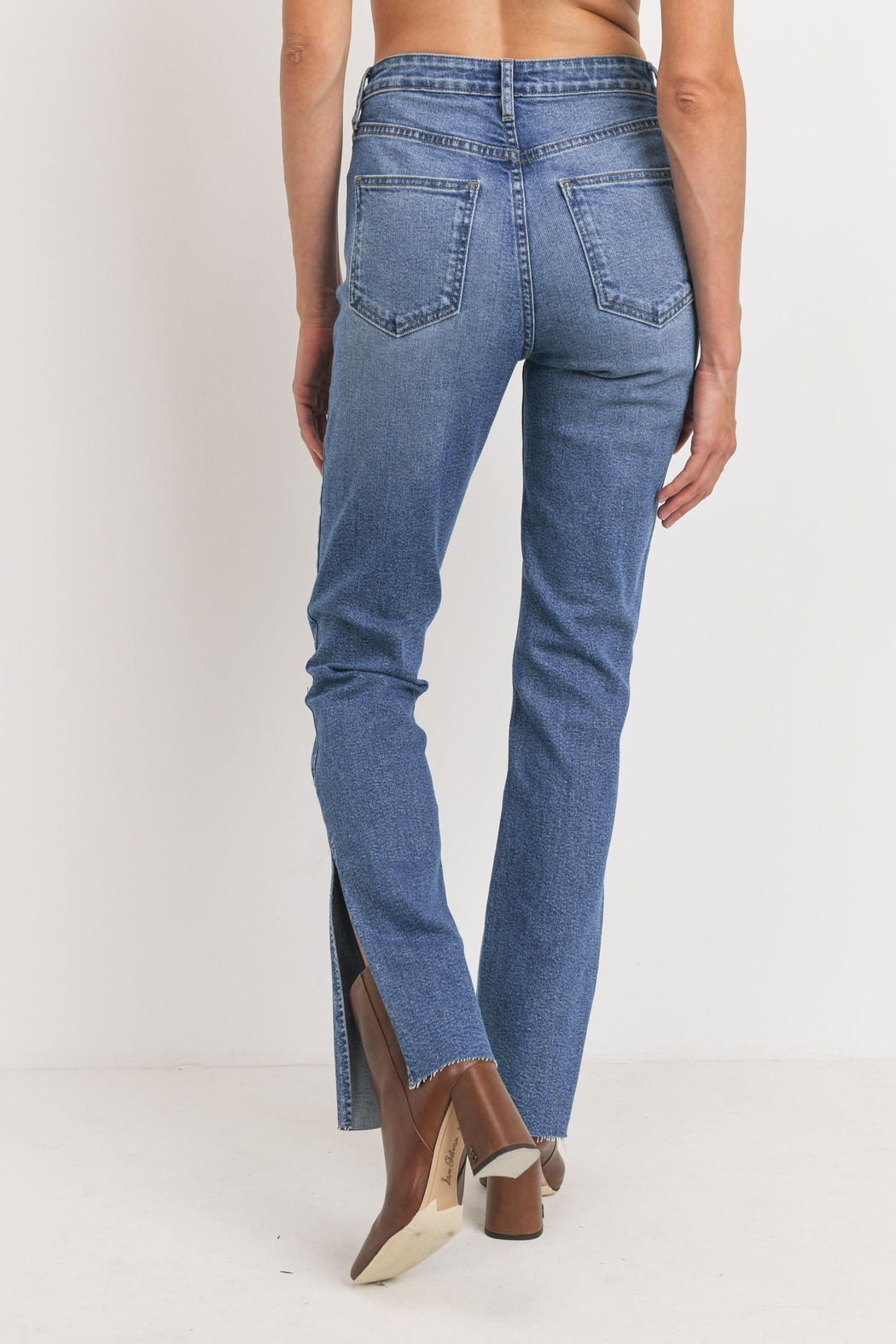 Just Panmaco Inc. Frayed Side Slit Jeans - Side Cropped Image