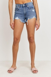Just Panmaco Inc. High-Rise Destroyed Shorts - Front full body