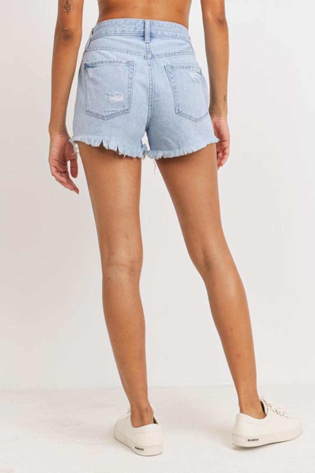 Just Panmaco Inc. High-Rise Destroyed Shorts - Side Cropped Image