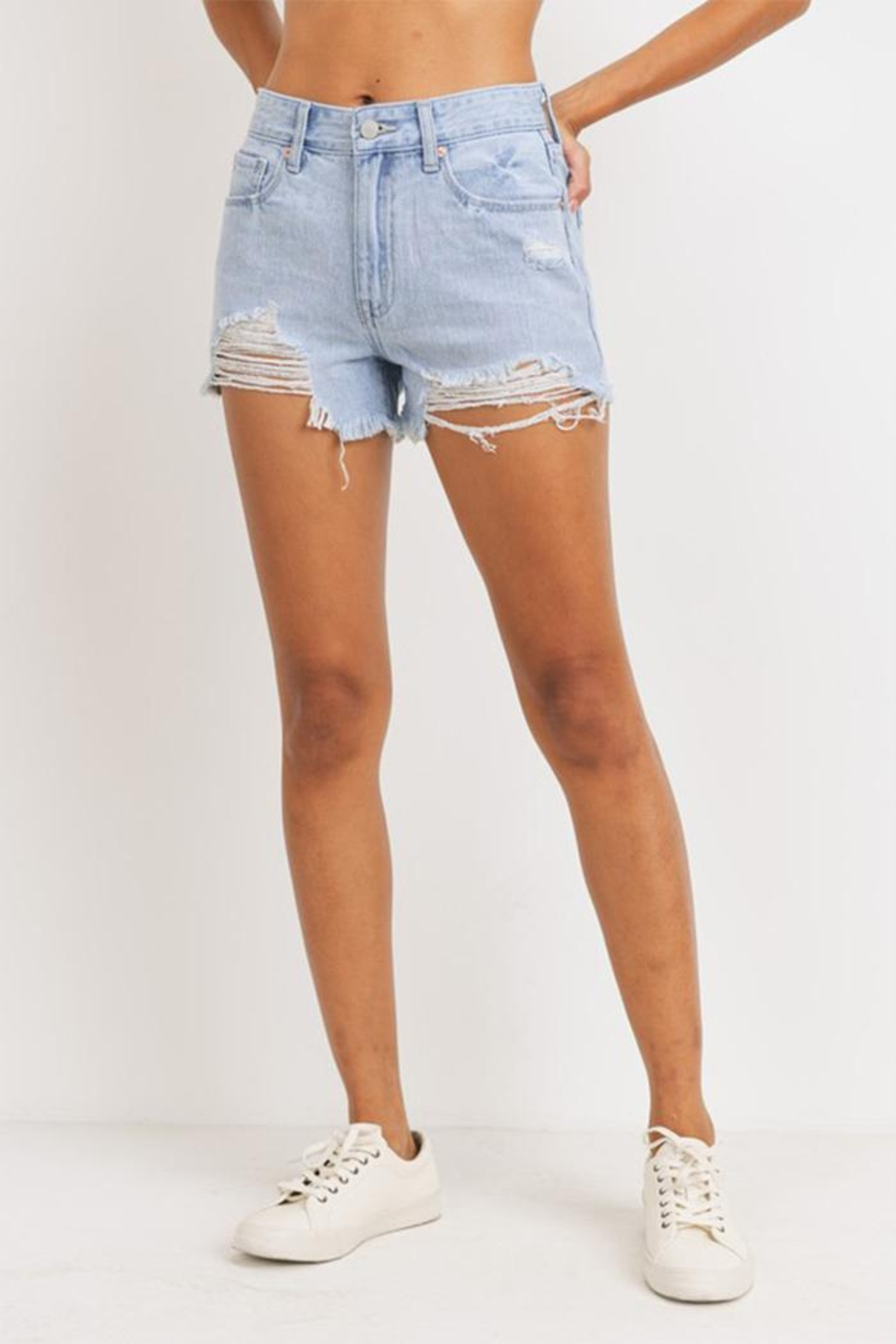 Just Panmaco Inc. High-Rise Destroyed Shorts - Front Cropped Image