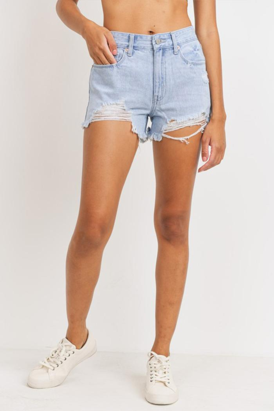 Just Panmaco Inc. High-Rise Destroyed Shorts - Front Full Image