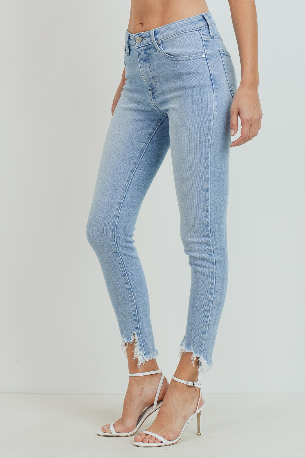 Just Panmaco Inc. High Rise Frayed End Skinny Jeans - Front Full Image