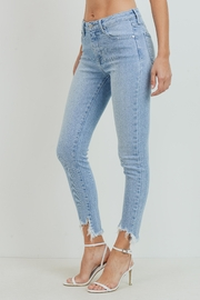Just Panmaco Inc. High Rise Frayed End Skinny Jeans - Front full body