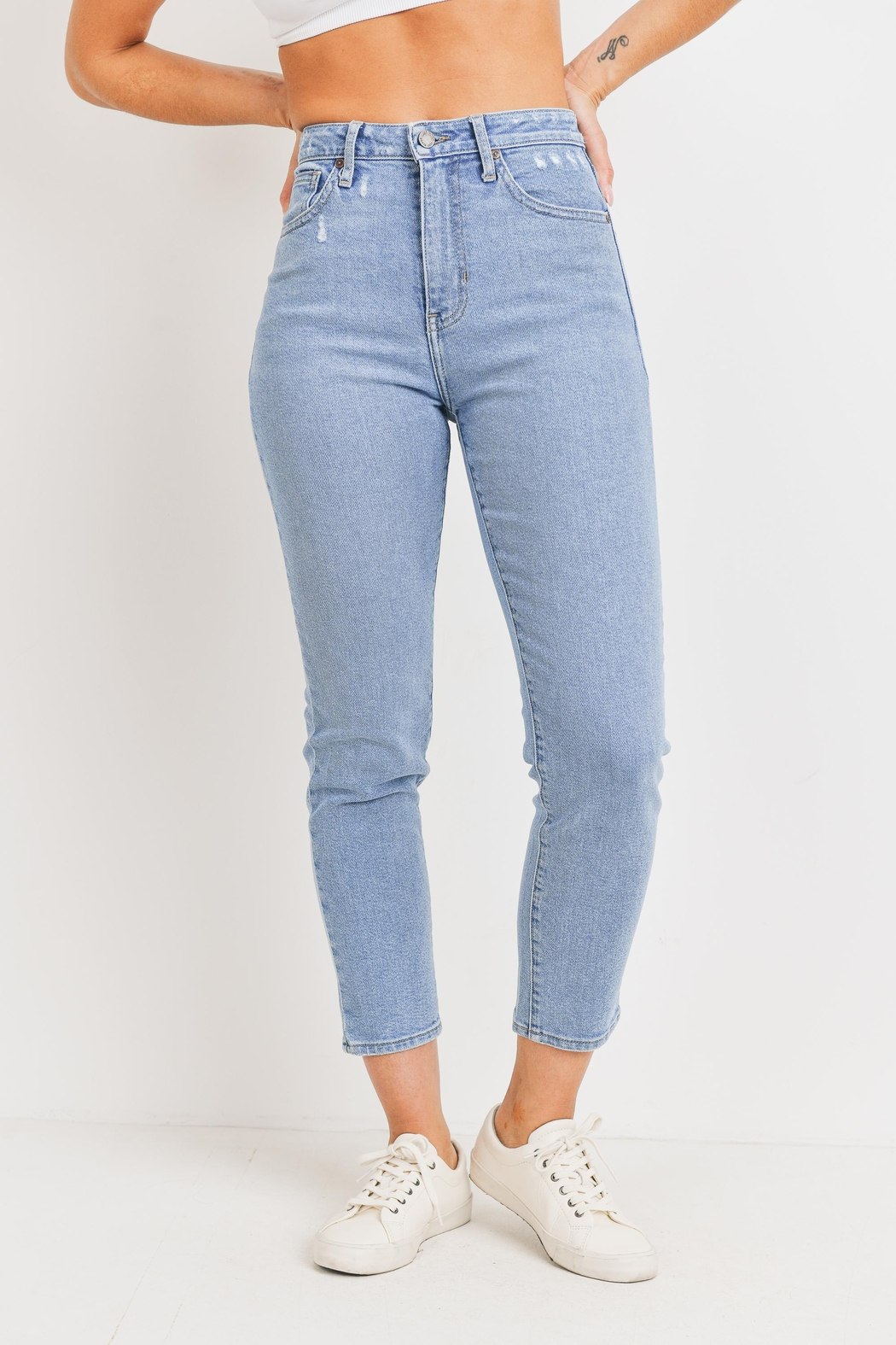 Just Panmaco Inc. High Rise Mom Denim Jeans - Main Image