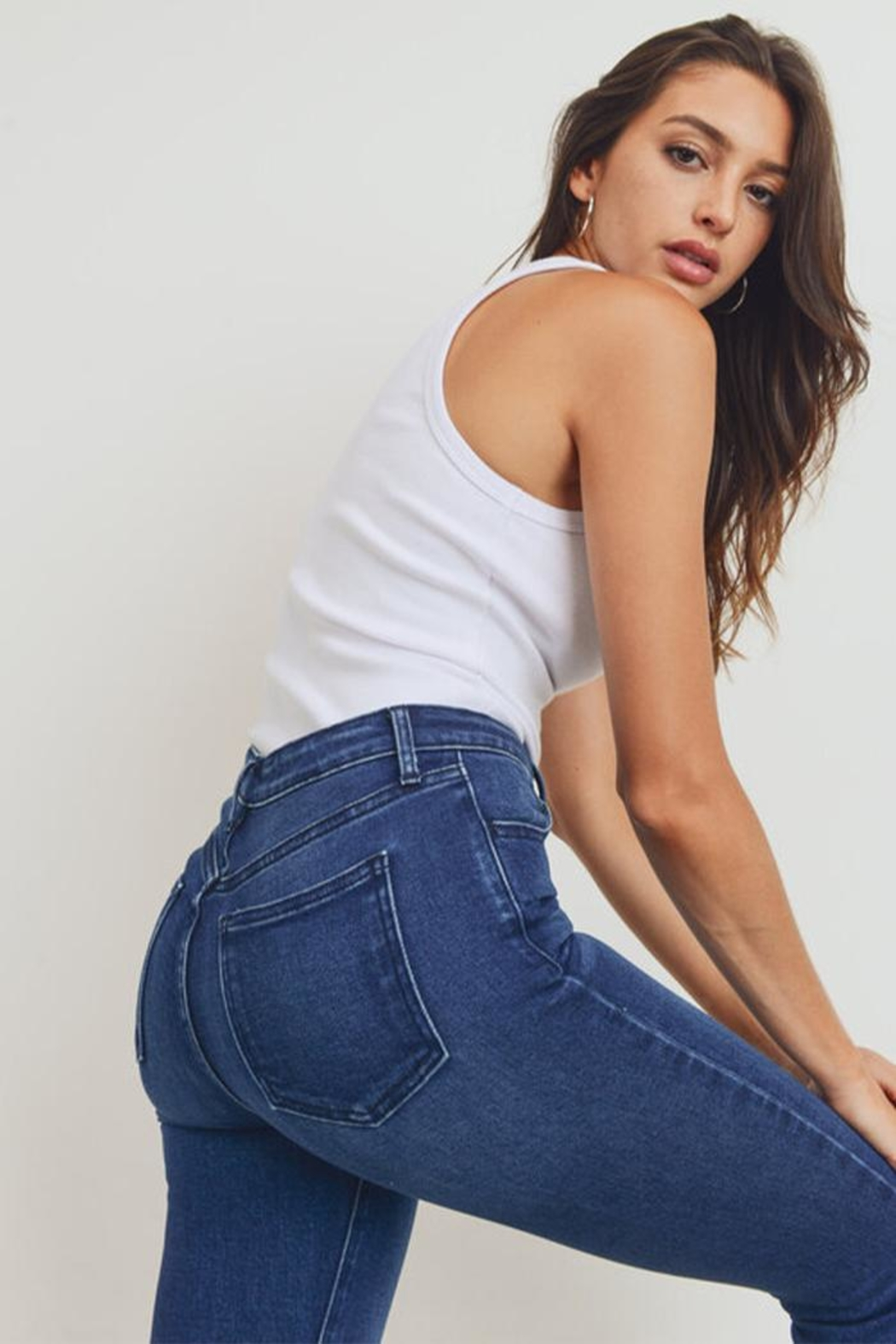 Just Panmaco Inc. Skinny Button-Up Jeans - Back Cropped Image