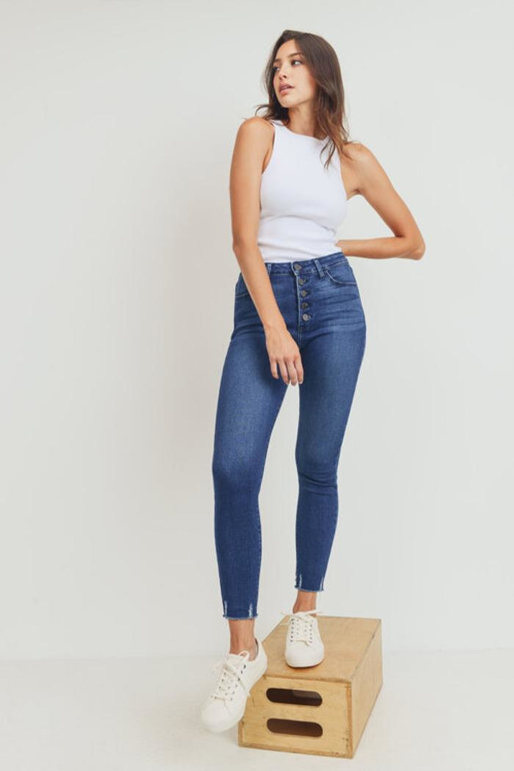 Just Panmaco Inc. Skinny Button-Up Jeans - Side Cropped Image