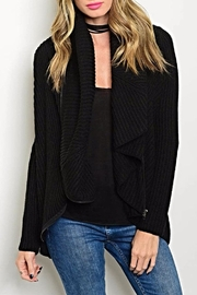 Just Slate Black Zipper Cardigan - Front cropped