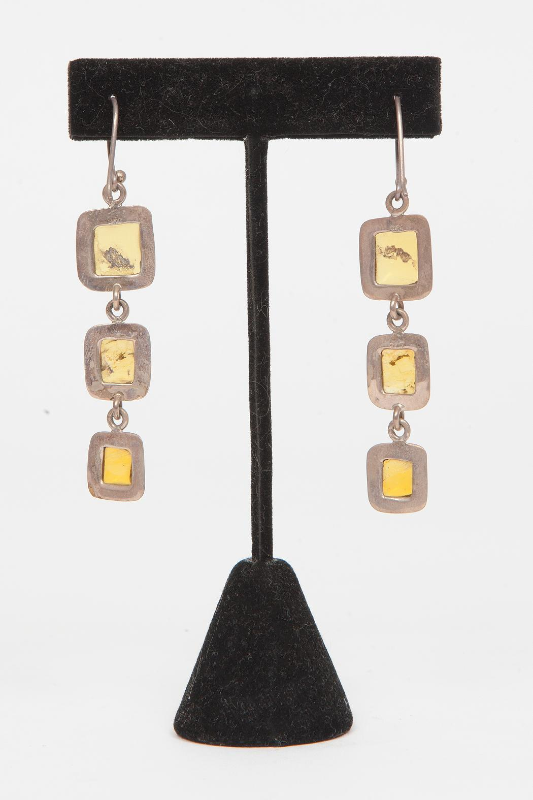 Just Tantau 3-Piece Amber Earrings - Back Cropped Image