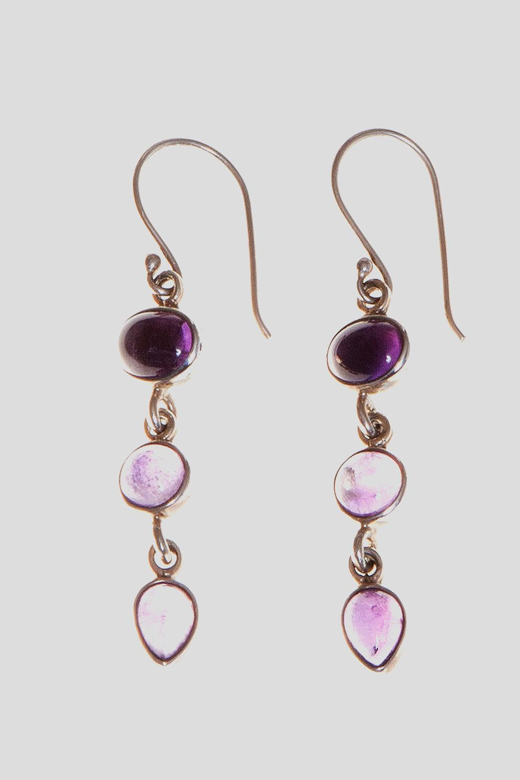 Just Tantau 3-Piece Amethyst Earrings - Front Cropped Image