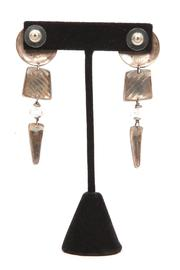 Just Tantau Circle Trapezoid Triangle Earrings - Back cropped