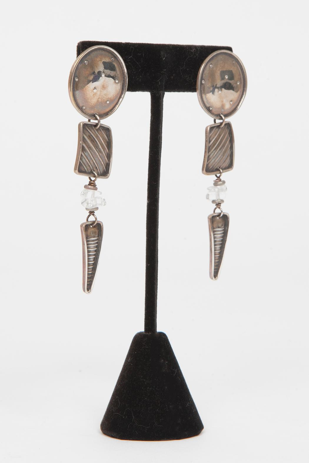 Just Tantau Circle Trapezoid Triangle Earrings - Side Cropped Image