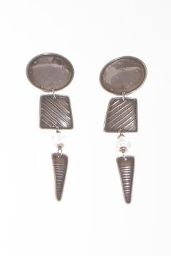 Shoptiques Product: Circle Trapezoid Triangle Earrings