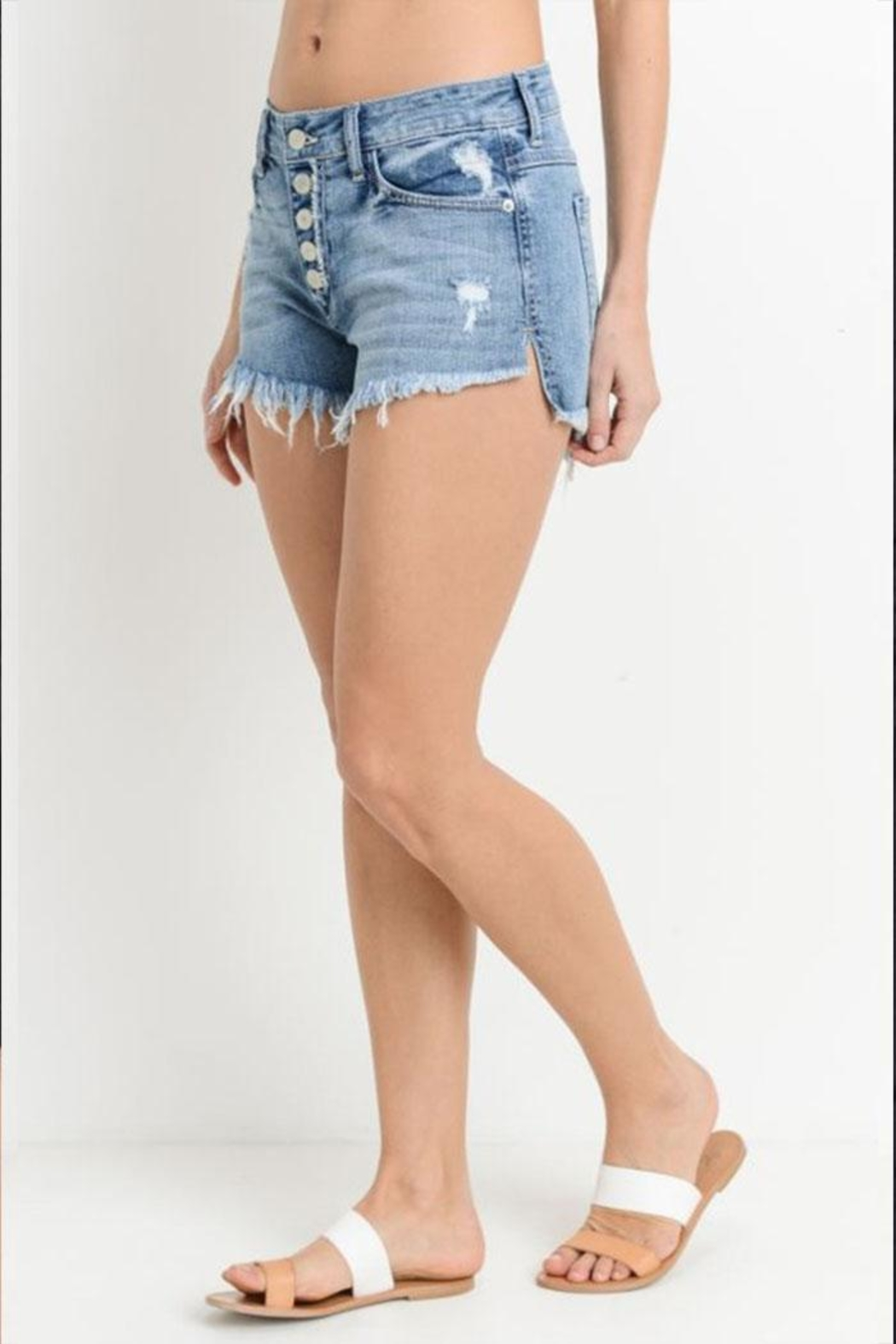 Just USA Button Front Shorts - Side Cropped Image
