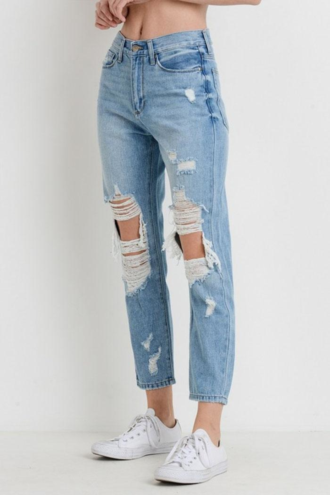 Just USA Destroyed Girlfriend Jeans - Front Full Image