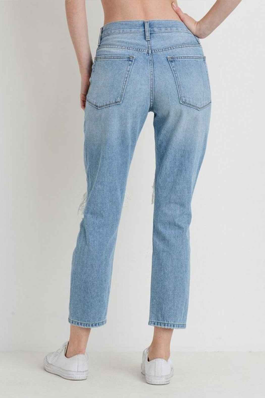 Just USA Destroyed Girlfriend Jeans - Side Cropped Image