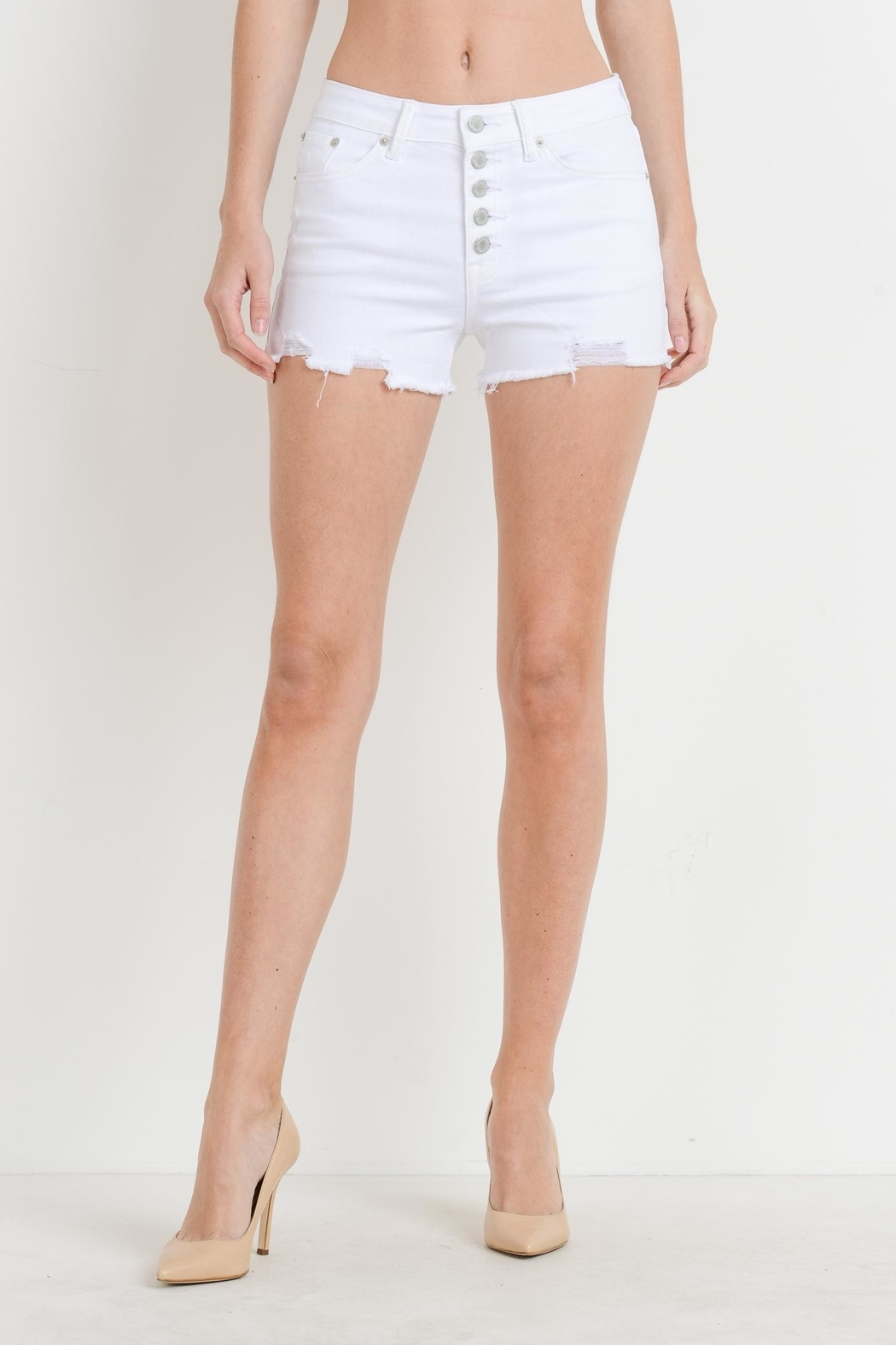 Just USA Hi-Rise Button Shorts - Front Cropped Image