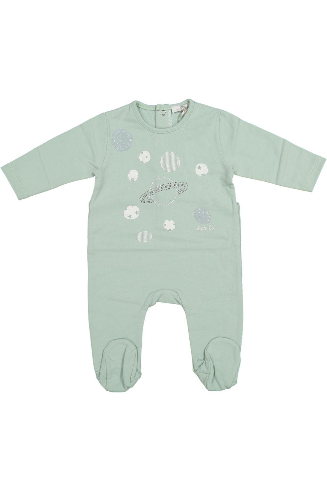 Juste Clé Mint Green Planet Dot Onesie - Front Cropped Image