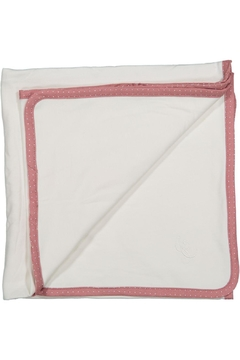 Shoptiques Product: White Blanket With Pink Dot Trim