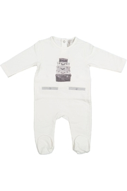 Juste Clé White Onesie With Grey Luggage - Front cropped