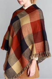 Justin & Taylor Checker Plaid Poncho - Side cropped