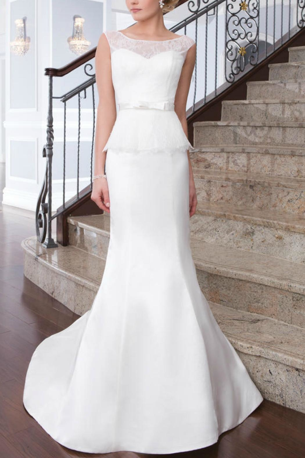 Justin Alexander Satin Mermaid Gown - Front Cropped Image
