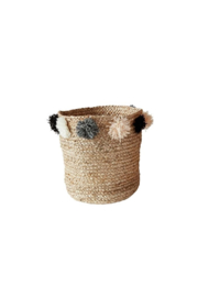 The Birds Nest JUTE BRAIDED BASKET W/ POM POMS SMALL - Product Mini Image