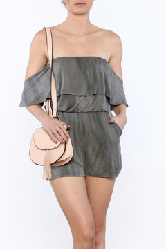 Shoptiques Product: Grey Off-Shoulder Romper