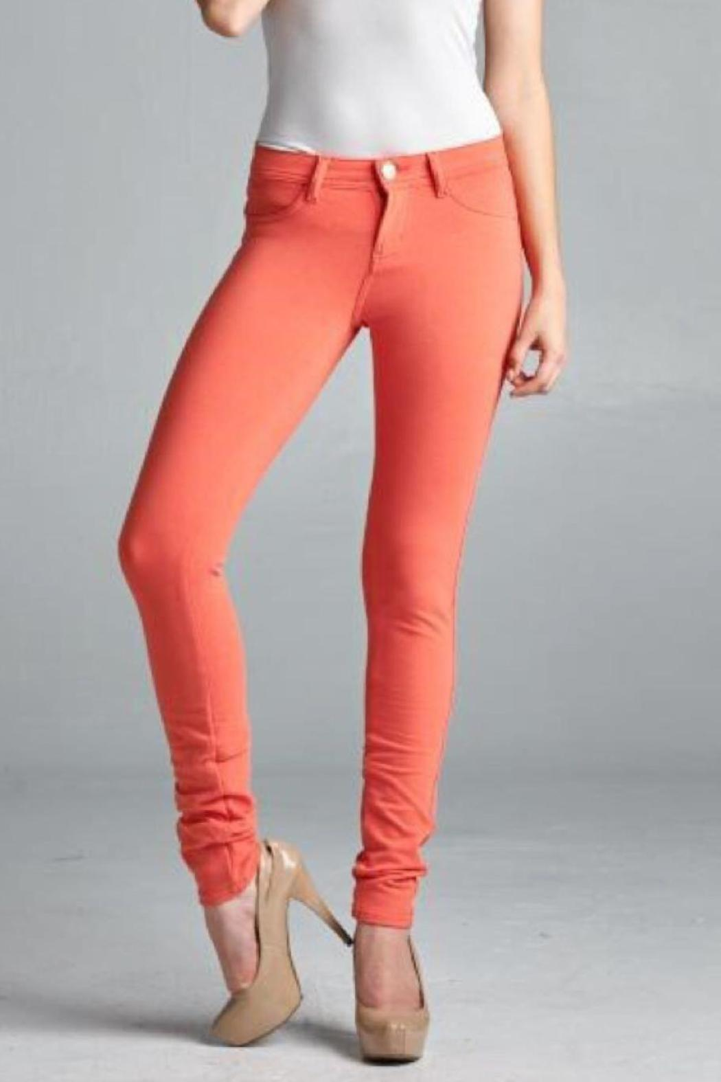 JW Maxx Coral Jeggings - Front Cropped Image - JW Maxx Coral Jeggings From Mississippi By EmiBeth's Boutique