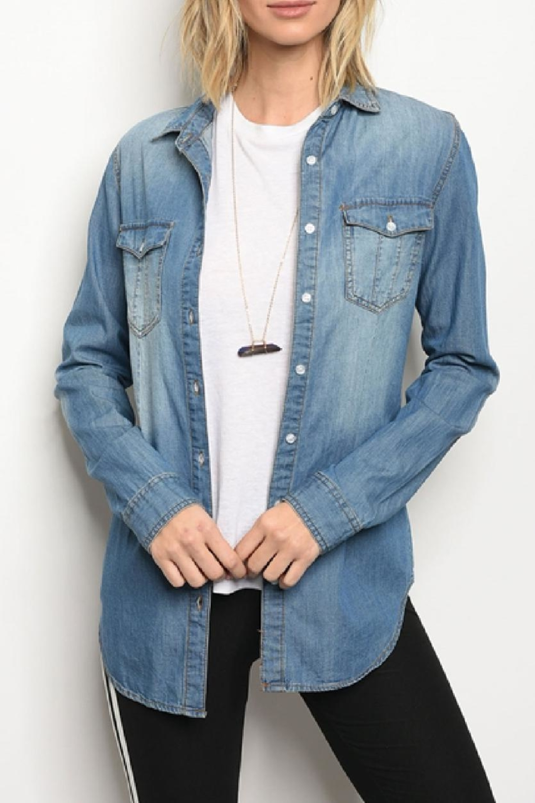JW Signature Chambray Shirt - Front Cropped Image