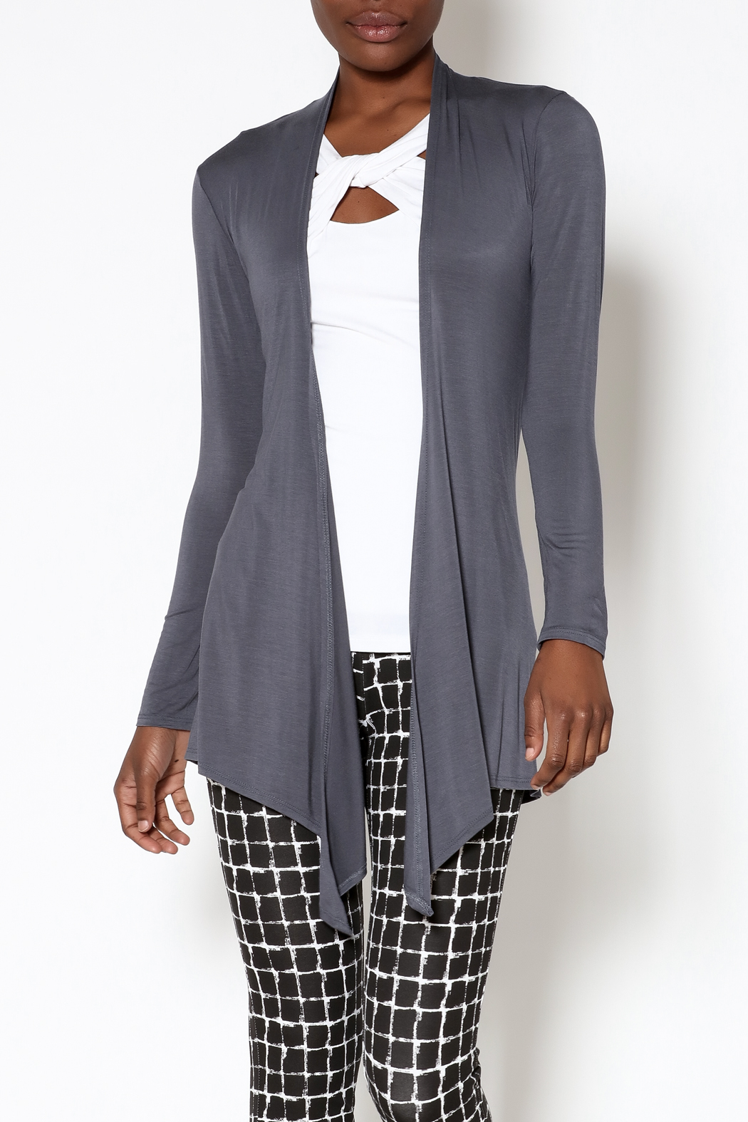 k.fisk Essential Long Sleeve Cardigan - Front Cropped Image