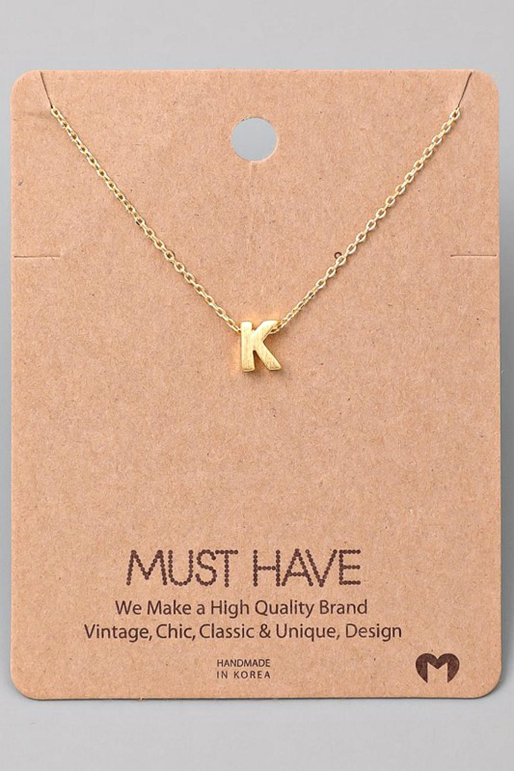 Fame Accessories K-Initial Pendant Necklace - Front Cropped Image