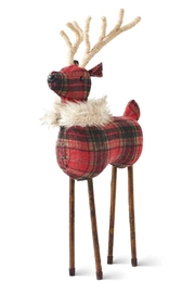 K&K Interiors Large Plaid Reindeer - Product Mini Image