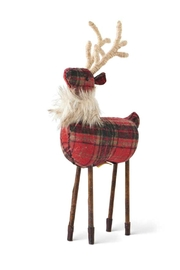 K&K Interiors Red Plaid Reindeer - Product Mini Image