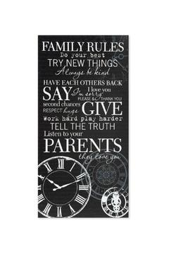K&K Interiors Sign, Family Rules - Product List Image