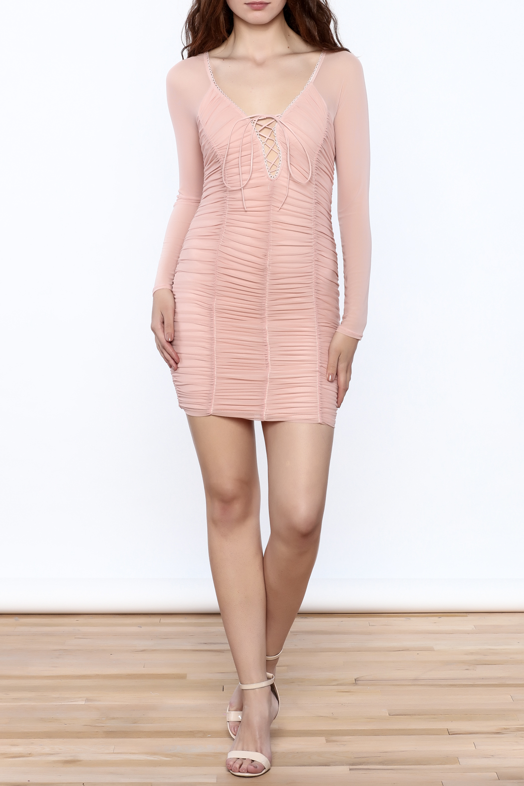 K too Pink Ruched Dress - Front Full Image