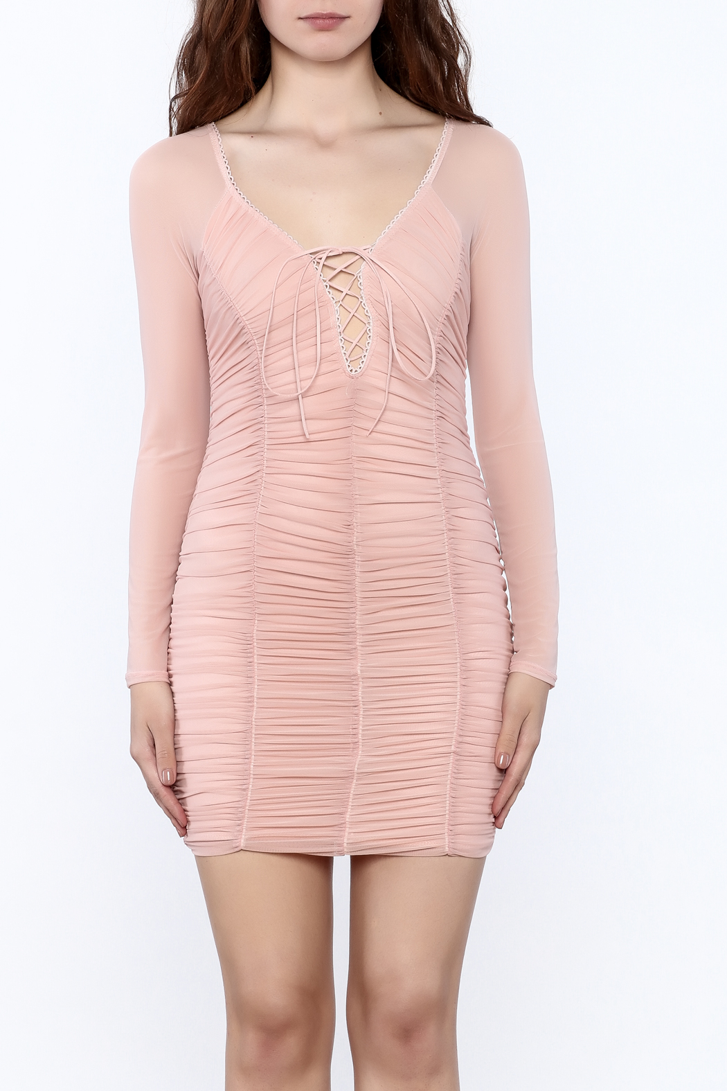 K too Pink Ruched Dress - Side Cropped Image