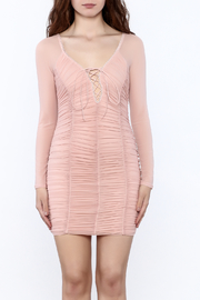 K too Pink Ruched Dress - Side cropped