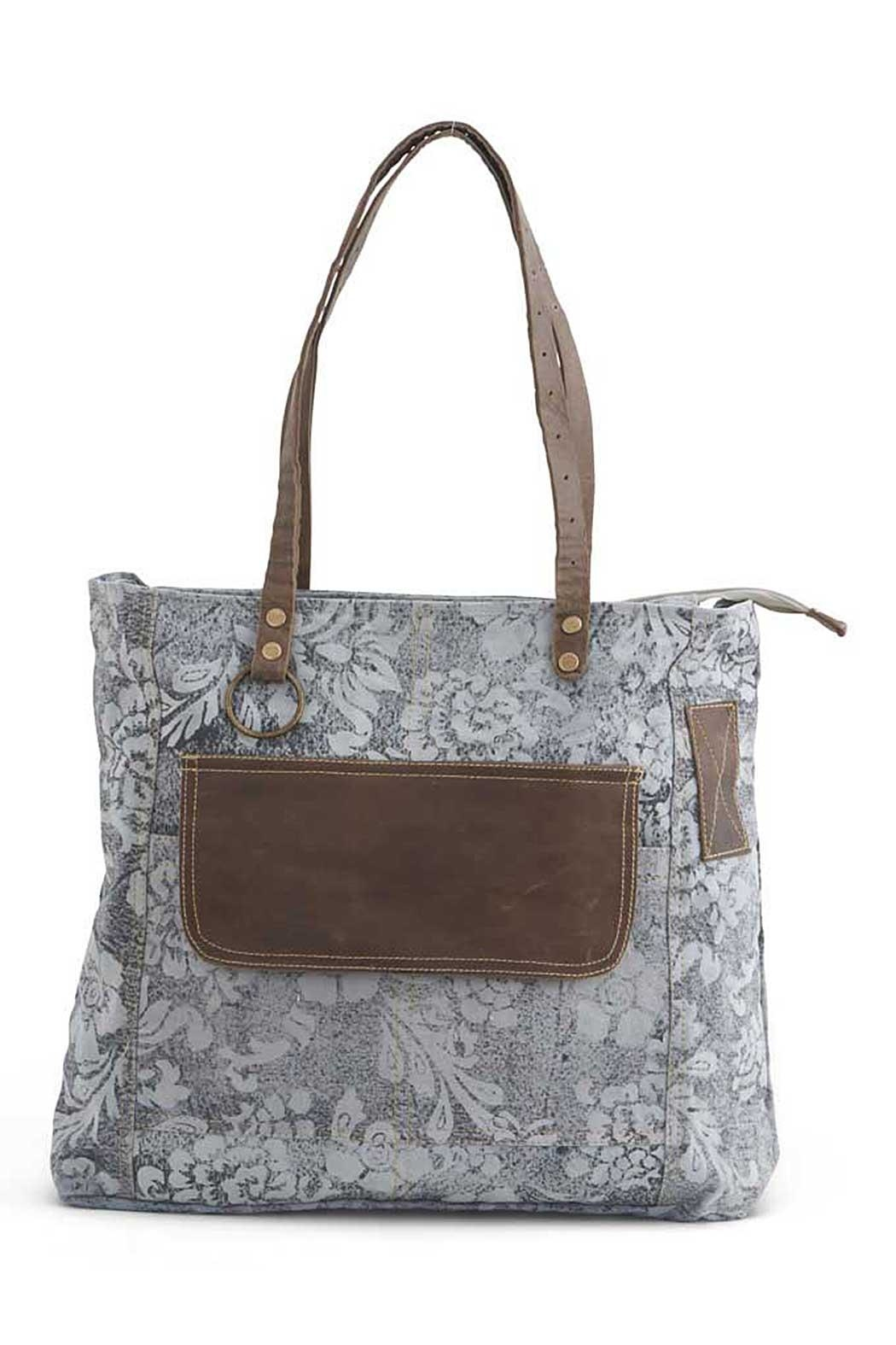 K & K Leather & Canvas Handbag - Front Cropped Image